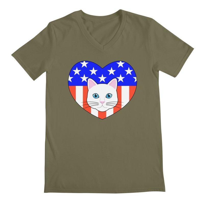 ALL AMERICAN CAT LOVER Men's Regular V-Neck by CAT IN ORBIT Artist Shop