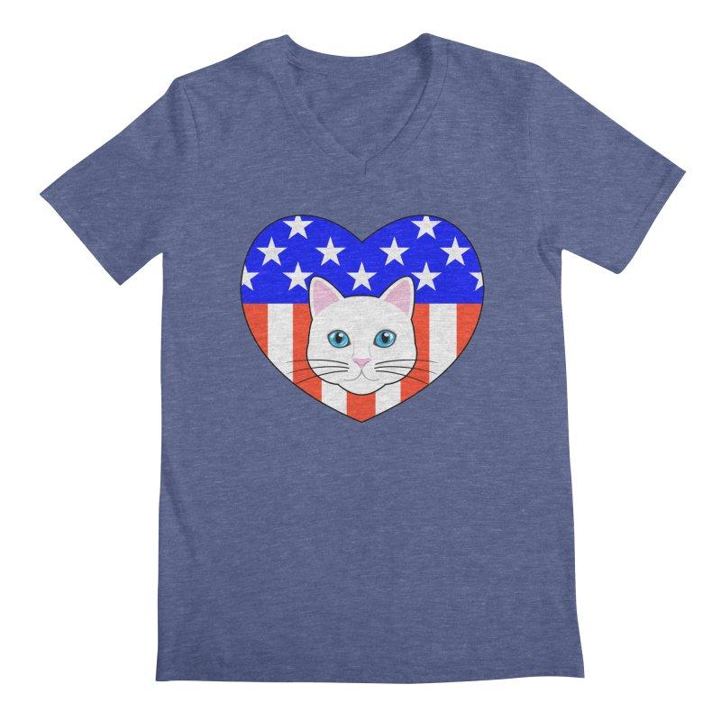 ALL AMERICAN CAT LOVER Men's V-Neck by CAT IN ORBIT Artist Shop