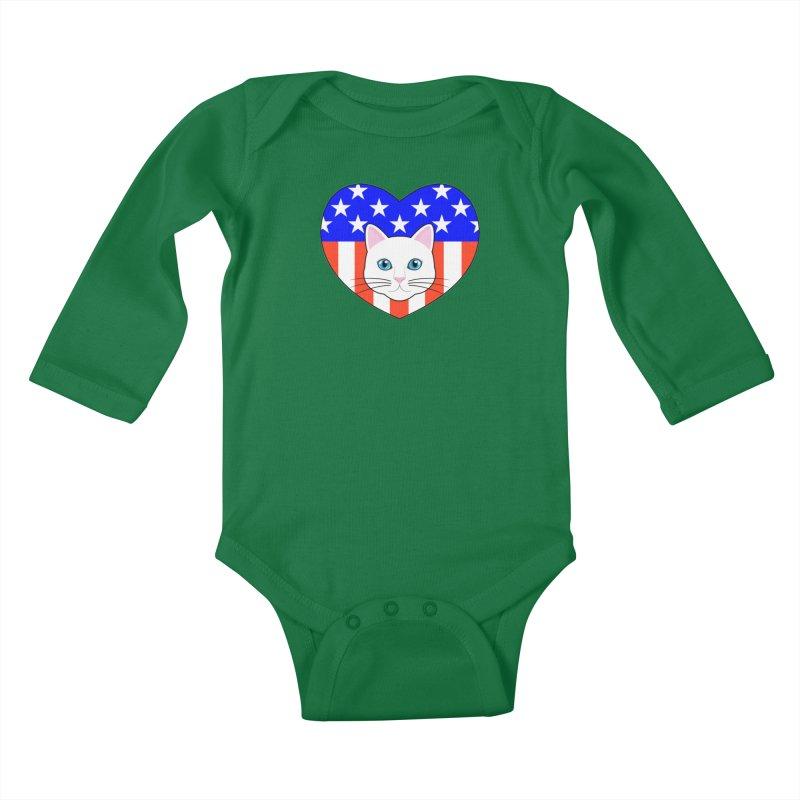 ALL AMERICAN CAT LOVER Kids Baby Longsleeve Bodysuit by CAT IN ORBIT Artist Shop