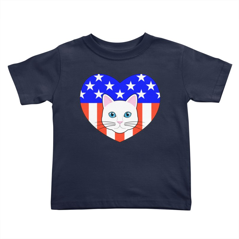 ALL AMERICAN CAT LOVER Kids Toddler T-Shirt by CAT IN ORBIT Artist Shop