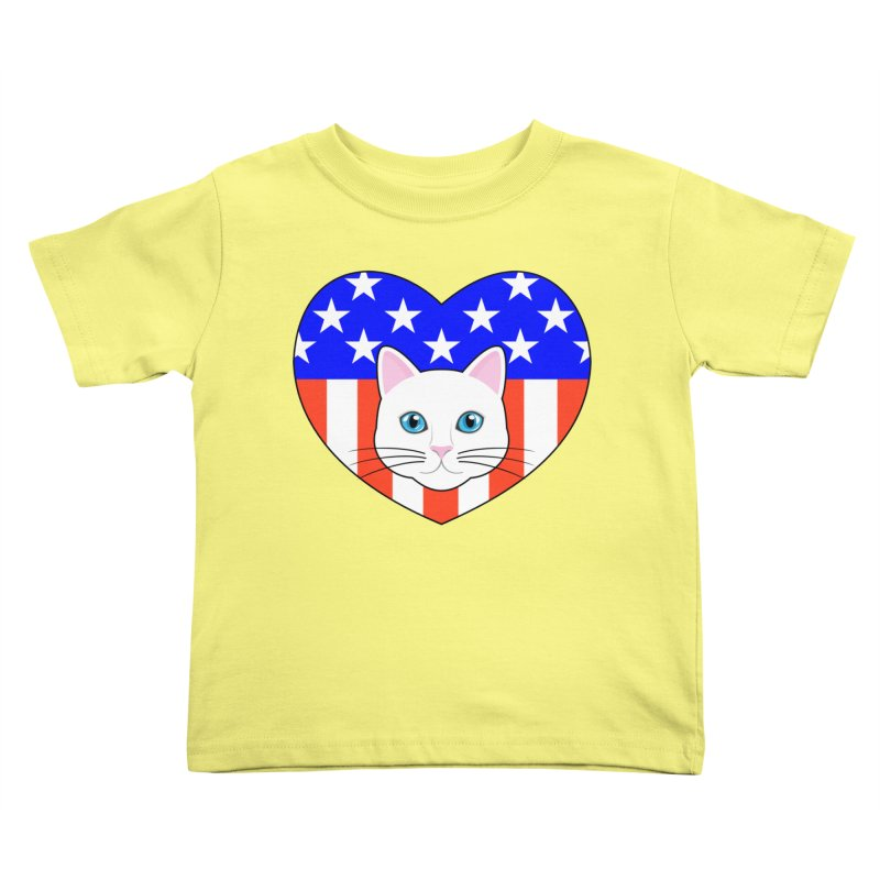 ALL AMERICAN CAT LOVER Kids Toddler T-Shirt by CAT IN ORBIT Artist Shop