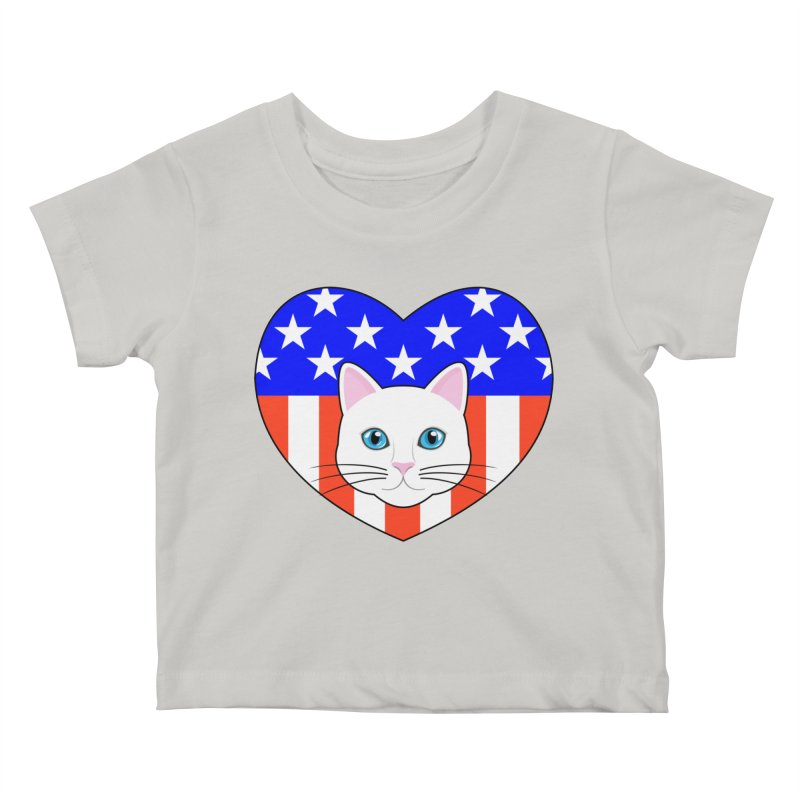 ALL AMERICAN CAT LOVER Kids Baby T-Shirt by CAT IN ORBIT Artist Shop
