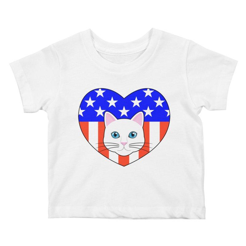 ALL AMERICAN CAT LOVER Kids Baby T-Shirt by CAT IN ORBIT Artist Shop