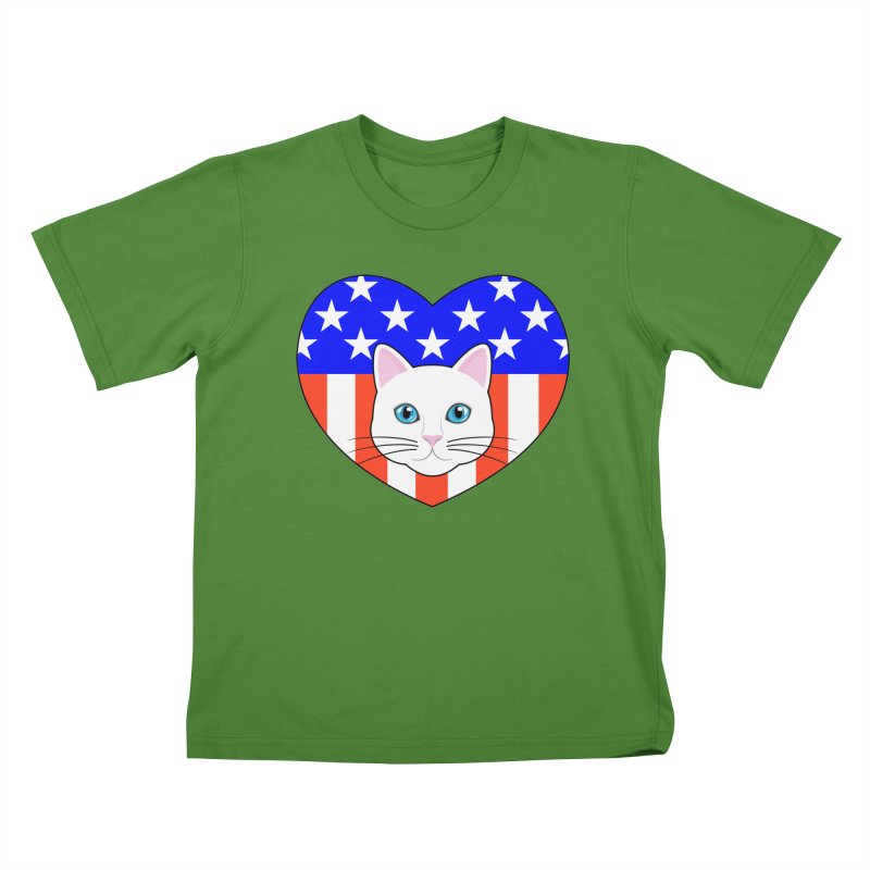 ALL AMERICAN CAT LOVER Kids T-Shirt by CAT IN ORBIT Artist Shop