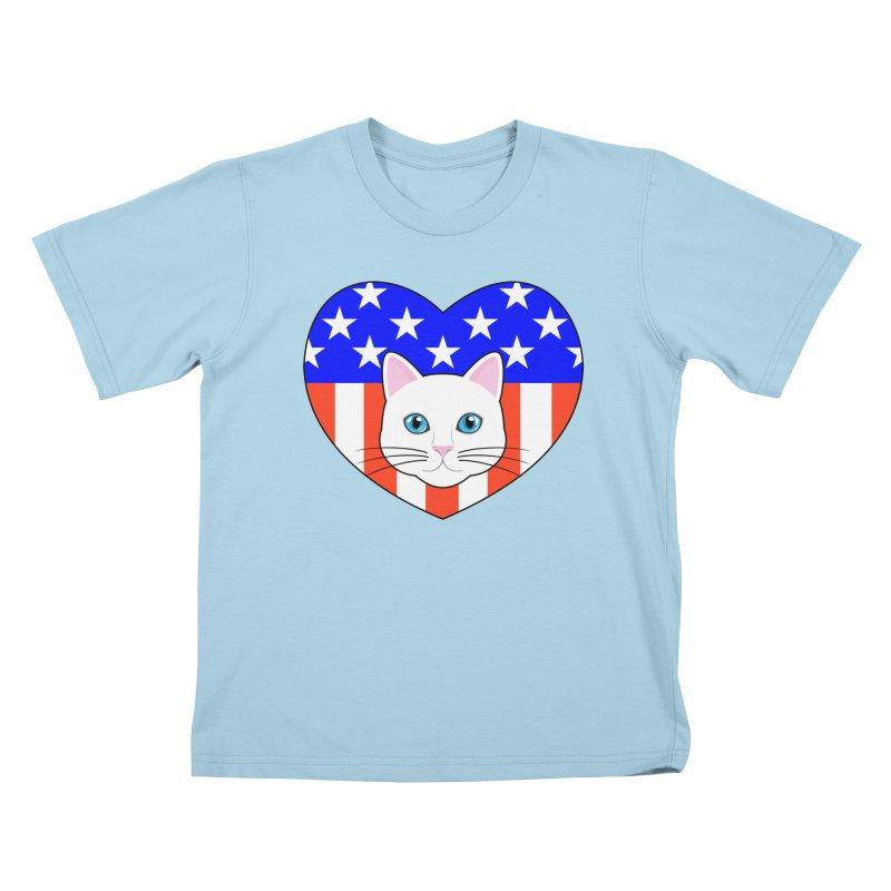 ALL AMERICAN CAT LOVER Kids T-Shirt by CAT IN ORBIT Artist Shop