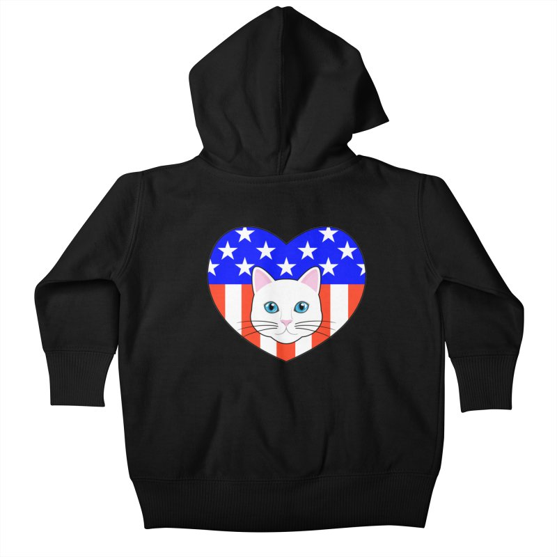 ALL AMERICAN CAT LOVER Kids Baby Zip-Up Hoody by CAT IN ORBIT Artist Shop