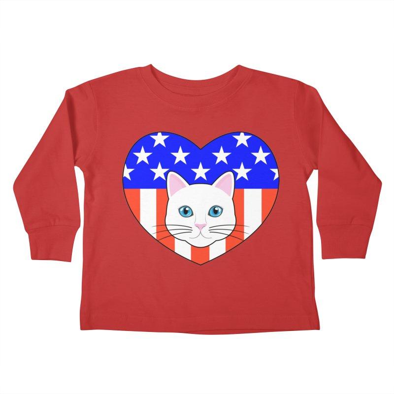 ALL AMERICAN CAT LOVER Kids Toddler Longsleeve T-Shirt by CAT IN ORBIT Artist Shop