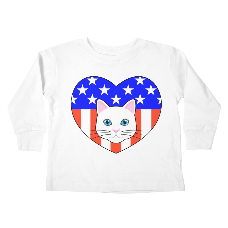 ALL AMERICAN CAT LOVER Kids Toddler Longsleeve T-Shirt by CAT IN ORBIT Artist Shop