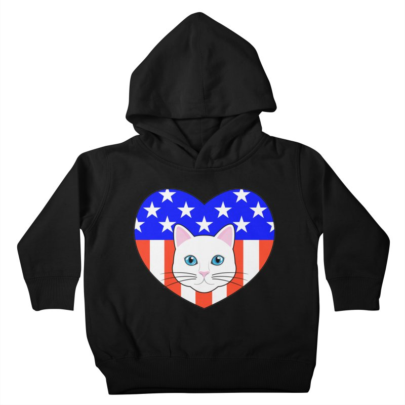 ALL AMERICAN CAT LOVER Kids Toddler Pullover Hoody by CAT IN ORBIT Artist Shop