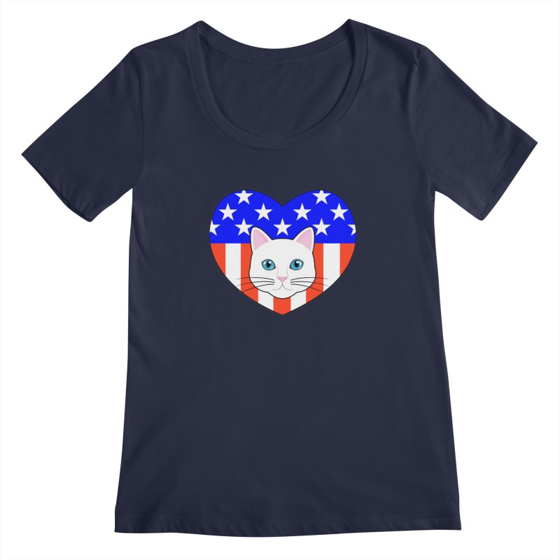 ALL AMERICAN CAT LOVER Women's Scoopneck by CAT IN ORBIT Artist Shop
