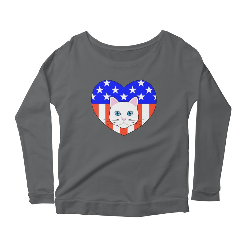 ALL AMERICAN CAT LOVER Women's Longsleeve Scoopneck  by CAT IN ORBIT Artist Shop