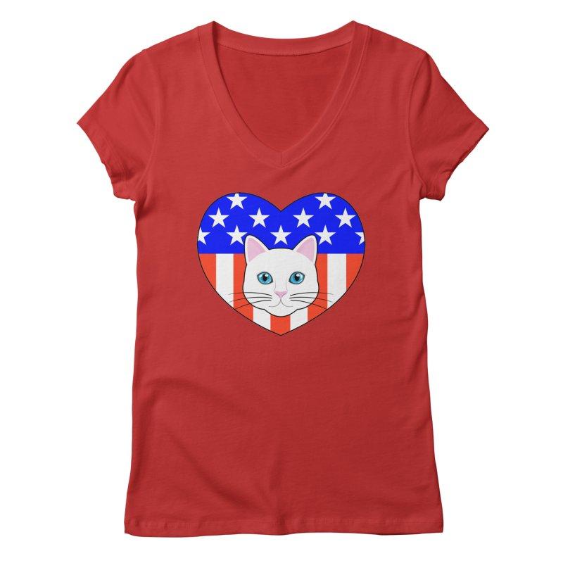 ALL AMERICAN CAT LOVER Women's V-Neck by CAT IN ORBIT Artist Shop