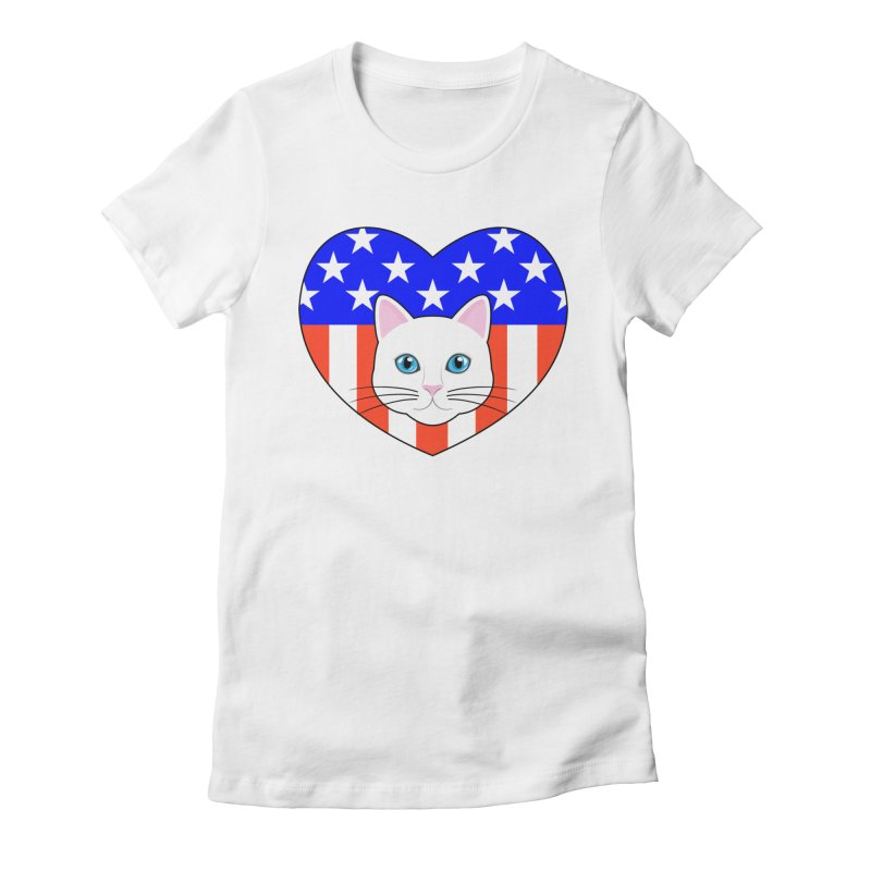 ALL AMERICAN CAT LOVER Women's Fitted T-Shirt by CAT IN ORBIT Artist Shop