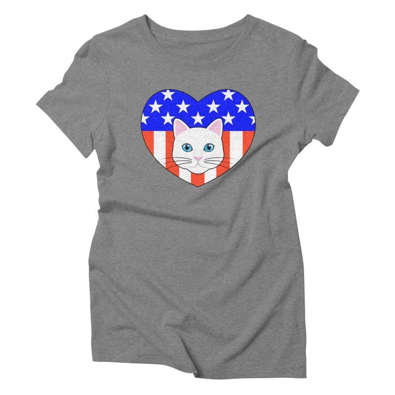 ALL AMERICAN CAT LOVER Women's Triblend T-Shirt by CAT IN ORBIT Artist Shop
