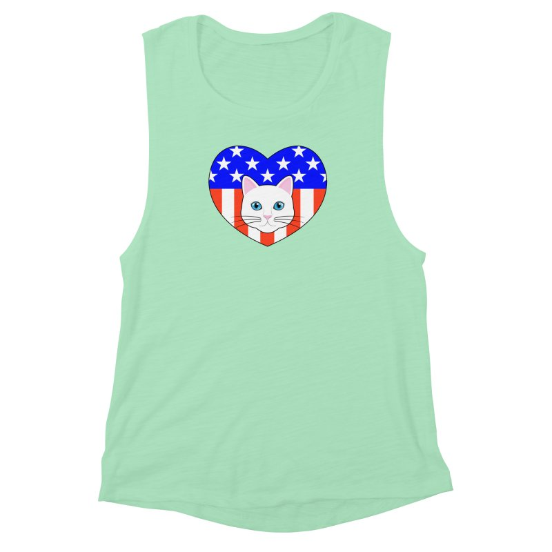 ALL AMERICAN CAT LOVER Women's Muscle Tank by CAT IN ORBIT Artist Shop