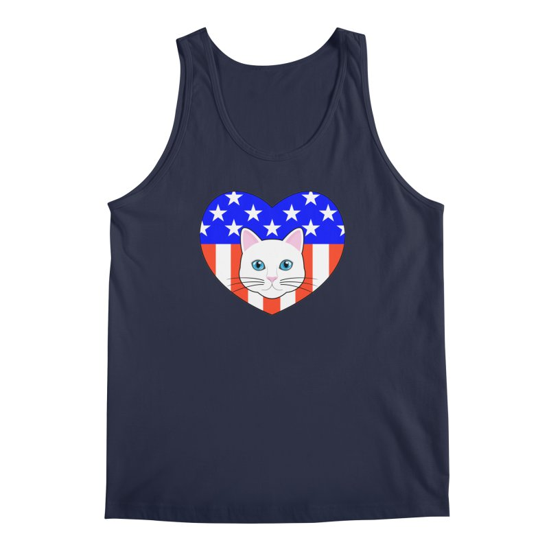 ALL AMERICAN CAT LOVER Men's Tank by CAT IN ORBIT Artist Shop
