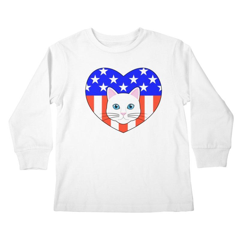 ALL AMERICAN CAT LOVER Kids Longsleeve T-Shirt by CAT IN ORBIT Artist Shop