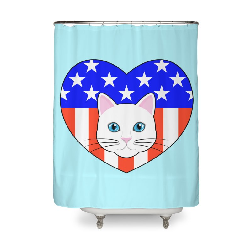 ALL AMERICAN CAT LOVER Home Shower Curtain by CAT IN ORBIT Artist Shop