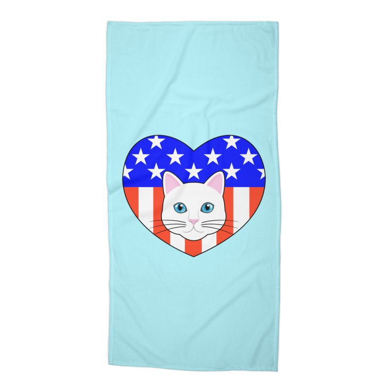 ALL AMERICAN CAT LOVER Accessories Beach Towel by CAT IN ORBIT Artist Shop