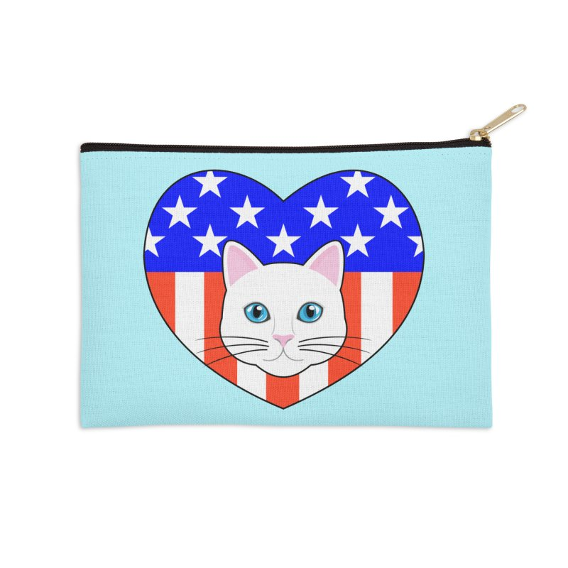 ALL AMERICAN CAT LOVER Accessories Zip Pouch by CAT IN ORBIT Artist Shop