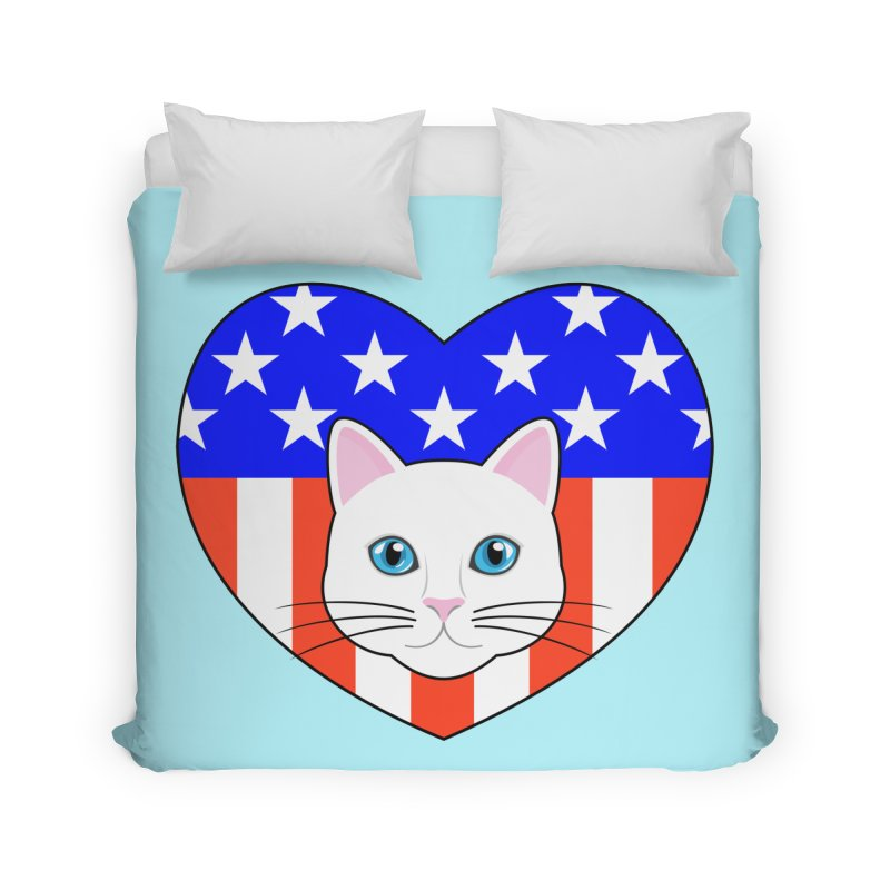 ALL AMERICAN CAT LOVER Home Duvet by CAT IN ORBIT Artist Shop