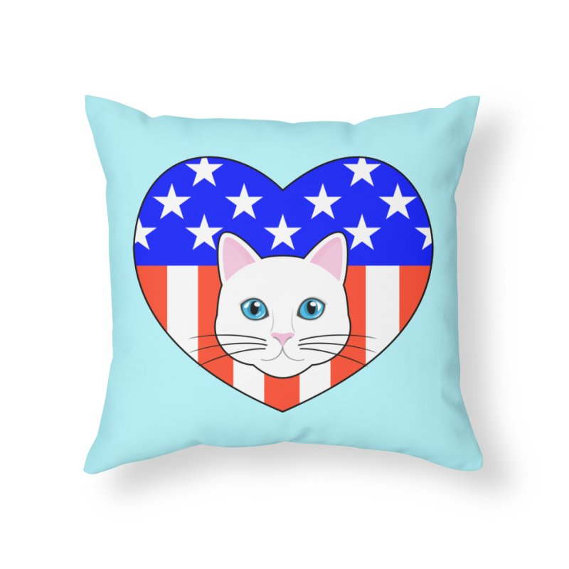 ALL AMERICAN CAT LOVER Home Throw Pillow by CAT IN ORBIT Artist Shop
