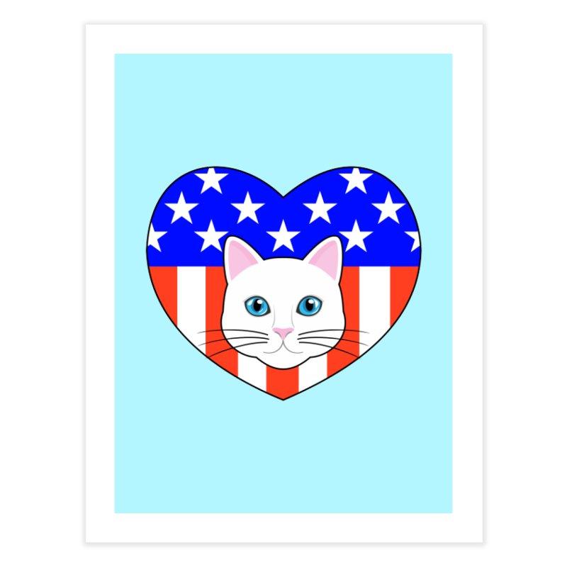ALL AMERICAN CAT LOVER Home Fine Art Print by CAT IN ORBIT Artist Shop