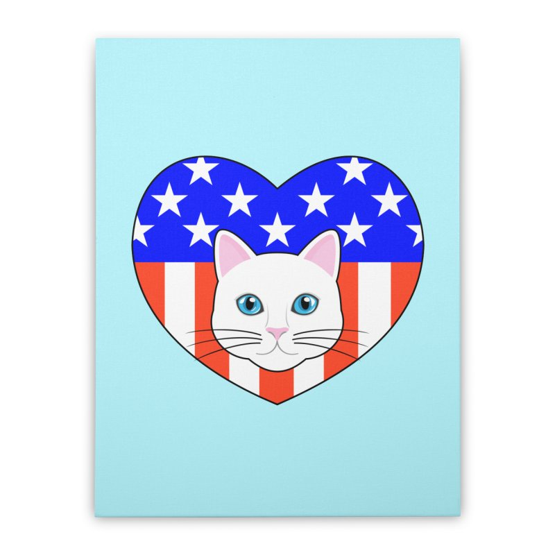 ALL AMERICAN CAT LOVER Home Stretched Canvas by CAT IN ORBIT Artist Shop