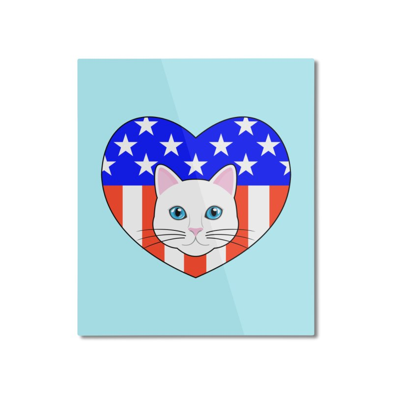 ALL AMERICAN CAT LOVER Home Mounted Aluminum Print by CAT IN ORBIT Artist Shop