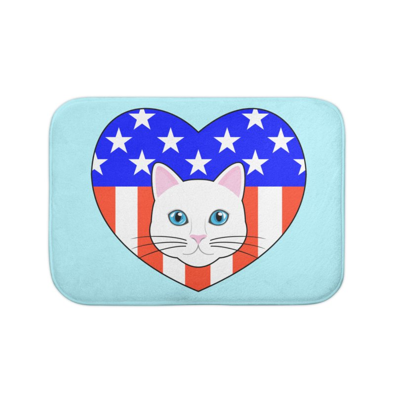 ALL AMERICAN CAT LOVER Home Bath Mat by CAT IN ORBIT Artist Shop