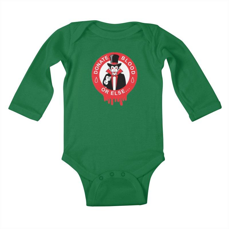 DONATE BLOOD Kids Baby Longsleeve Bodysuit by CAT IN ORBIT Artist Shop
