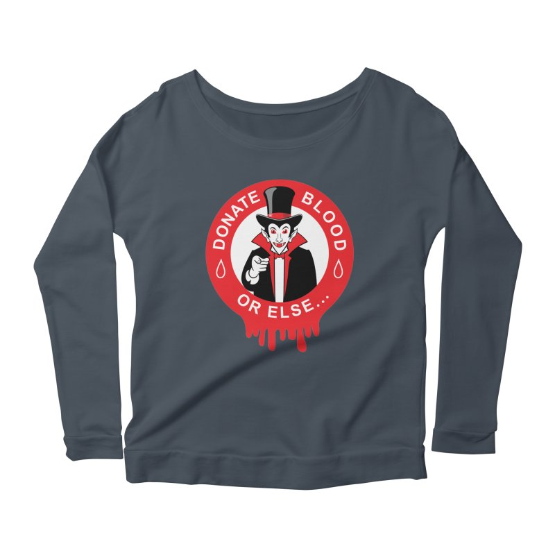 DONATE BLOOD Women's Longsleeve Scoopneck  by CAT IN ORBIT Artist Shop