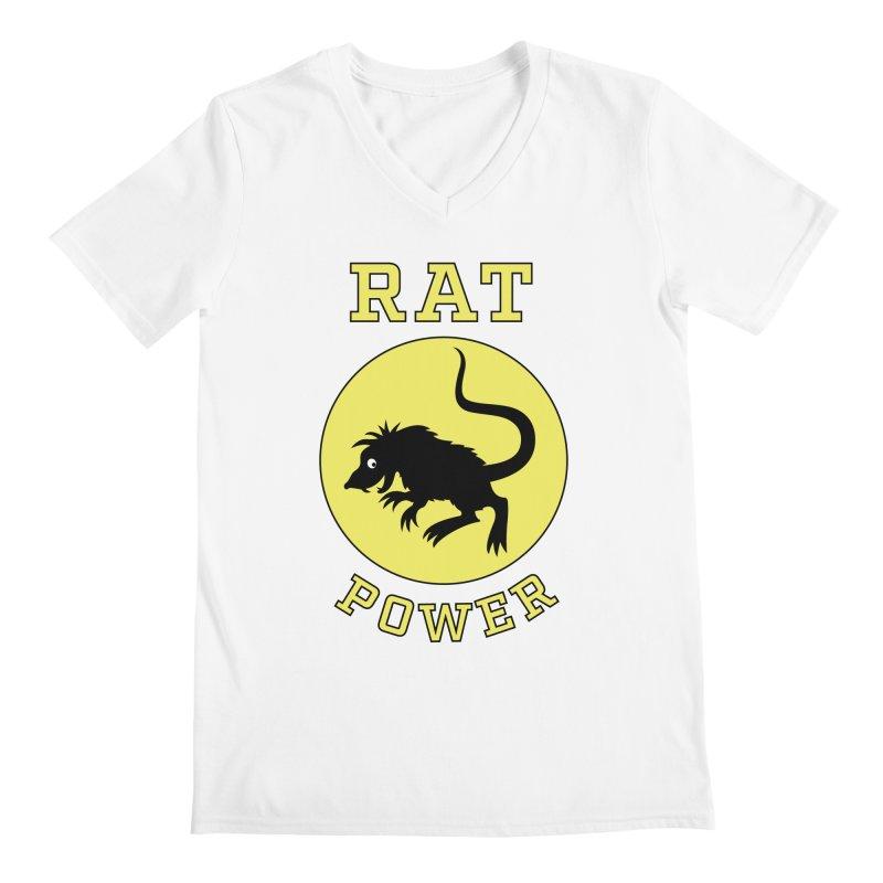 RAT POWER Men's Regular V-Neck by CAT IN ORBIT Artist Shop
