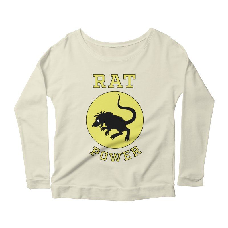 RAT POWER Women's Longsleeve Scoopneck  by CAT IN ORBIT Artist Shop