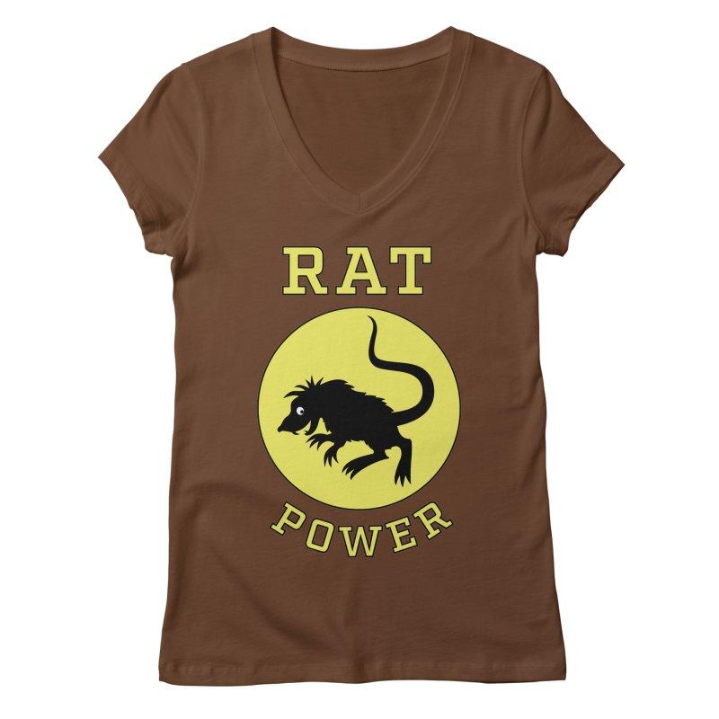 RAT POWER Women's V-Neck by CAT IN ORBIT Artist Shop