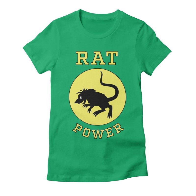 RAT POWER Women's Fitted T-Shirt by CAT IN ORBIT Artist Shop