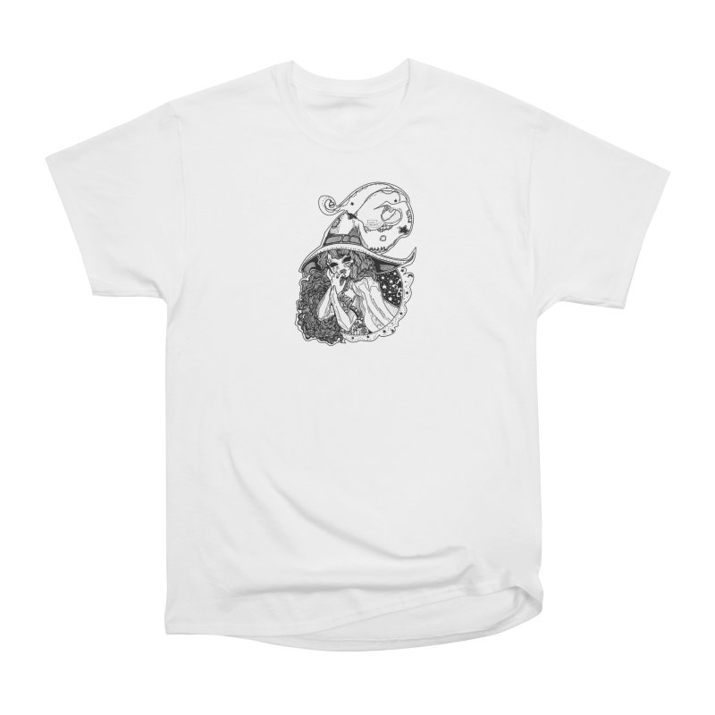 Masked Moon Witch (Black and White) Women's T-Shirt by catiworks's Artist Shop
