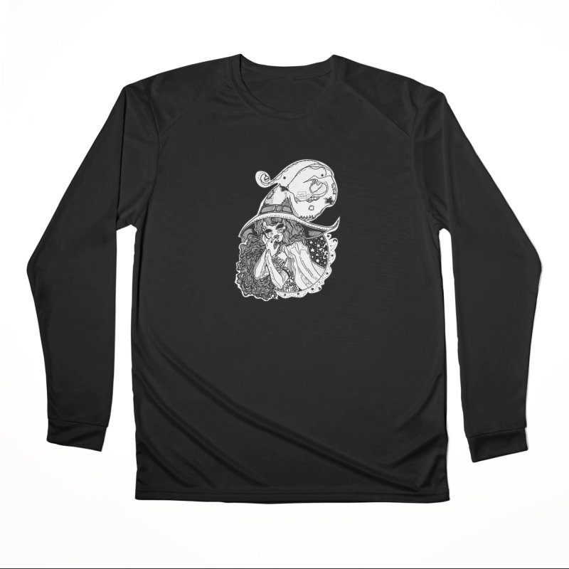 Masked Moon Witch (Black and White) Women's Longsleeve T-Shirt by catiworks's Artist Shop