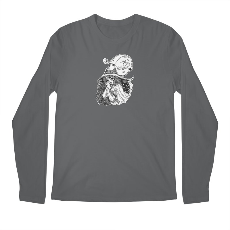 Masked Moon Witch (Black and White) Men's Longsleeve T-Shirt by catiworks's Artist Shop
