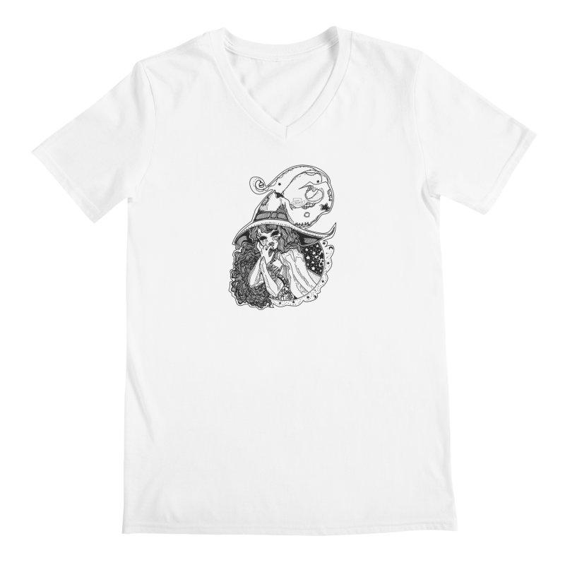 Masked Moon Witch (Black and White) Men's V-Neck by catiworks's Artist Shop