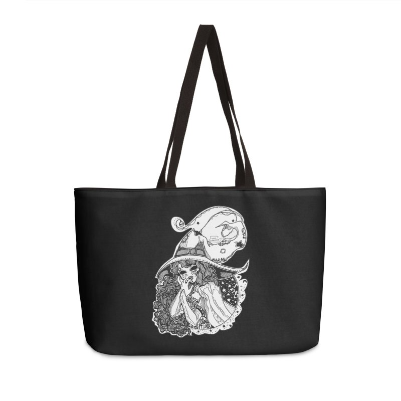 Masked Moon Witch (Black and White) Accessories Bag by catiworks's Artist Shop