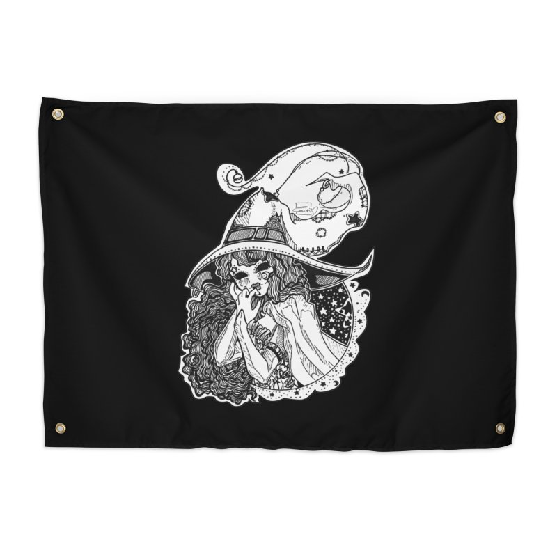 Masked Moon Witch (Black and White) Home Tapestry by catiworks's Artist Shop
