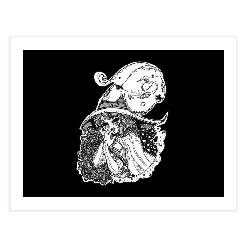 Masked Moon Witch (Black and White) Home Fine Art Print by catiworks's Artist Shop