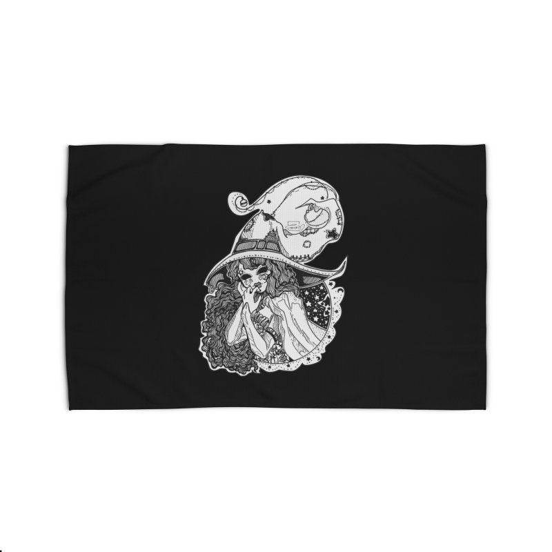 Masked Moon Witch (Black and White) Home Rug by catiworks's Artist Shop