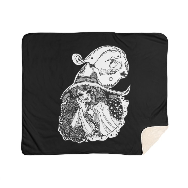 Masked Moon Witch (Black and White) Home Blanket by catiworks's Artist Shop