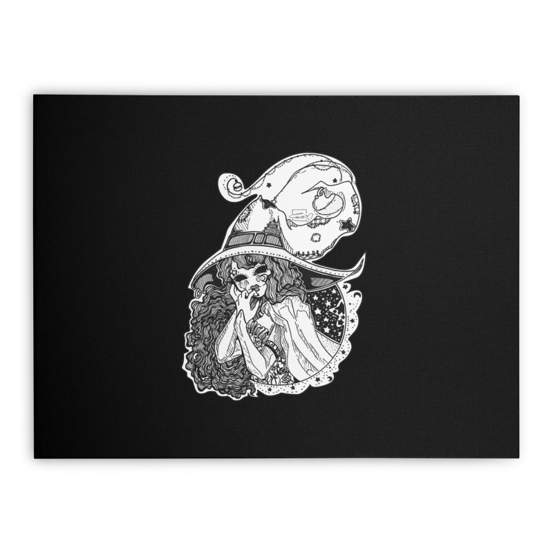 Masked Moon Witch (Black and White) Home Stretched Canvas by catiworks's Artist Shop
