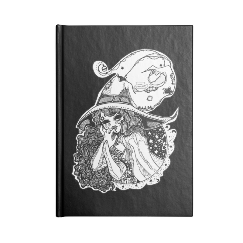 Masked Moon Witch (Black and White) Accessories Notebook by catiworks's Artist Shop