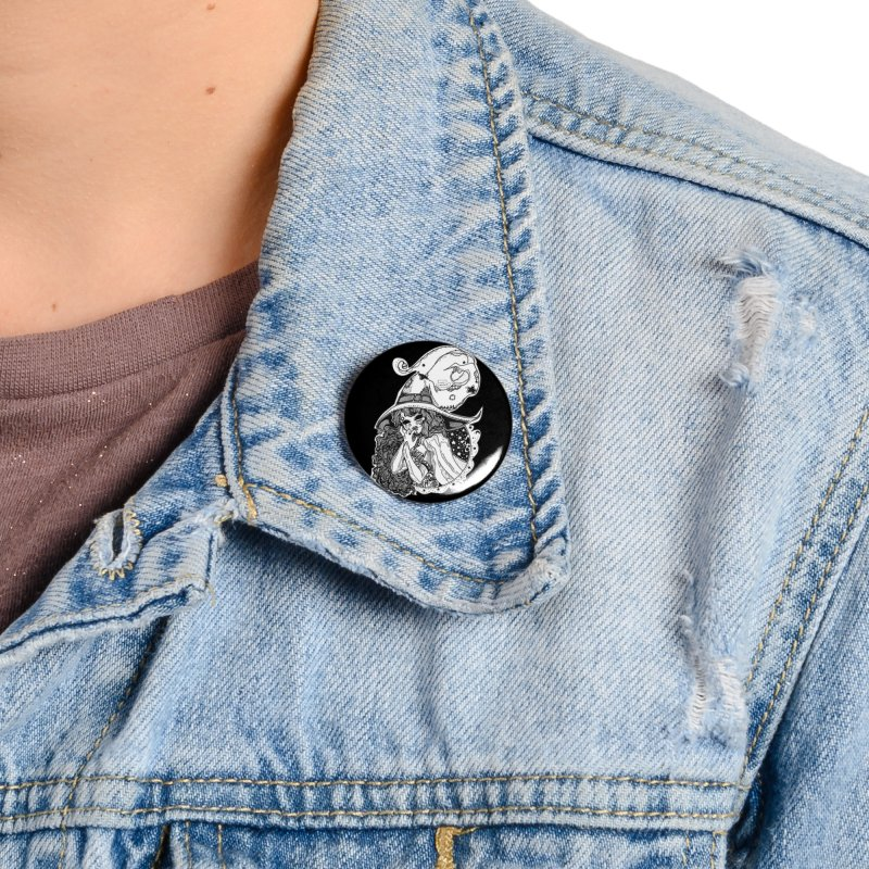 Masked Moon Witch (Black and White) Accessories Button by catiworks's Artist Shop