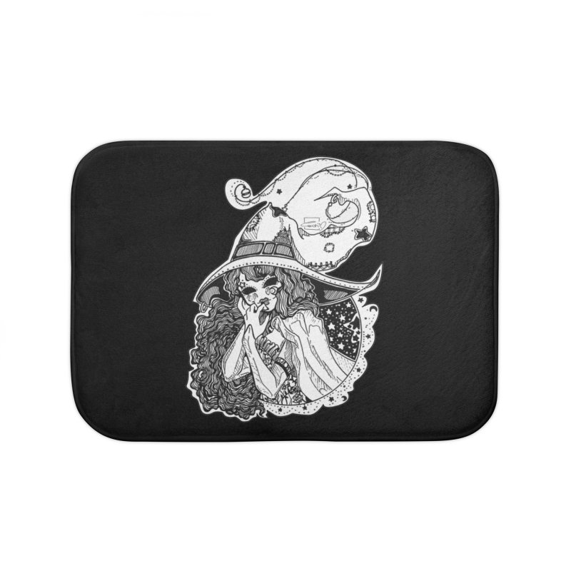 Masked Moon Witch (Black and White) Home Bath Mat by catiworks's Artist Shop