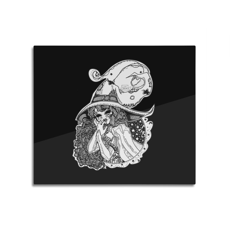 Masked Moon Witch (Black and White) Home Mounted Aluminum Print by catiworks's Artist Shop